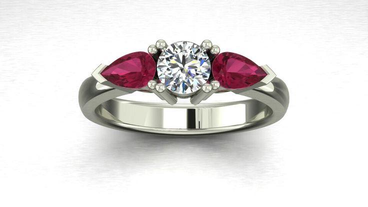 3 stone ring_diamond & Pink Topaz
