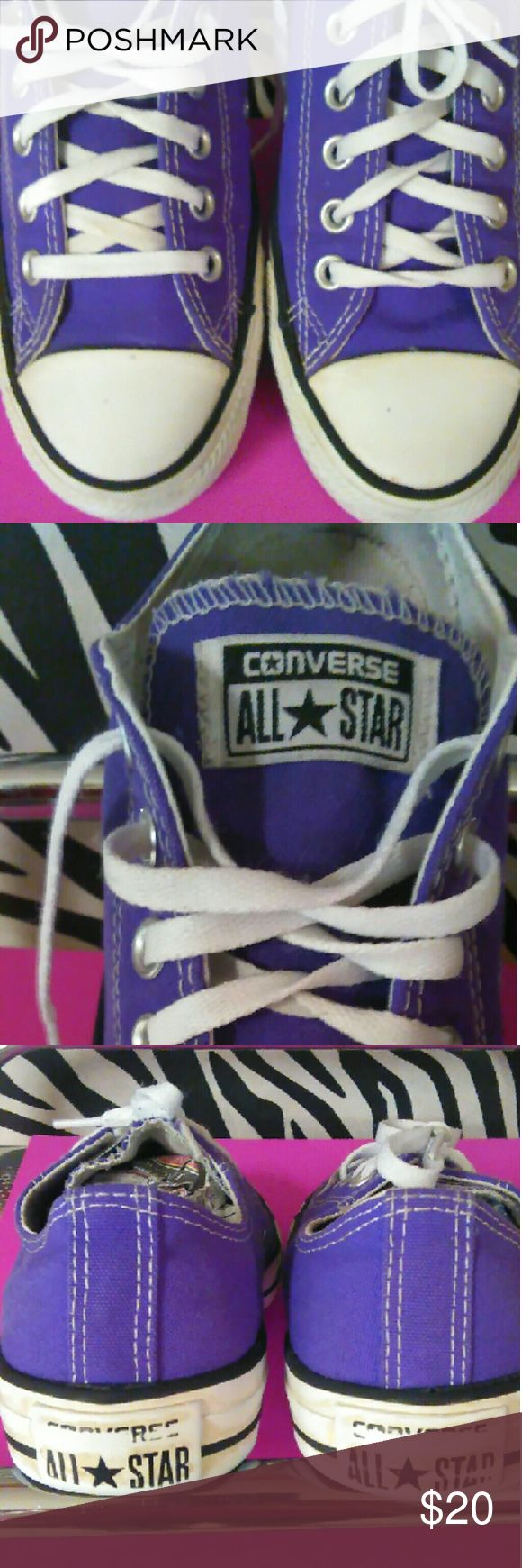 Sold. Converse All Stars Really cute purple shoes. Women's size 7 or Men's size 5 Converse All Stars Shoes Athletic Shoes