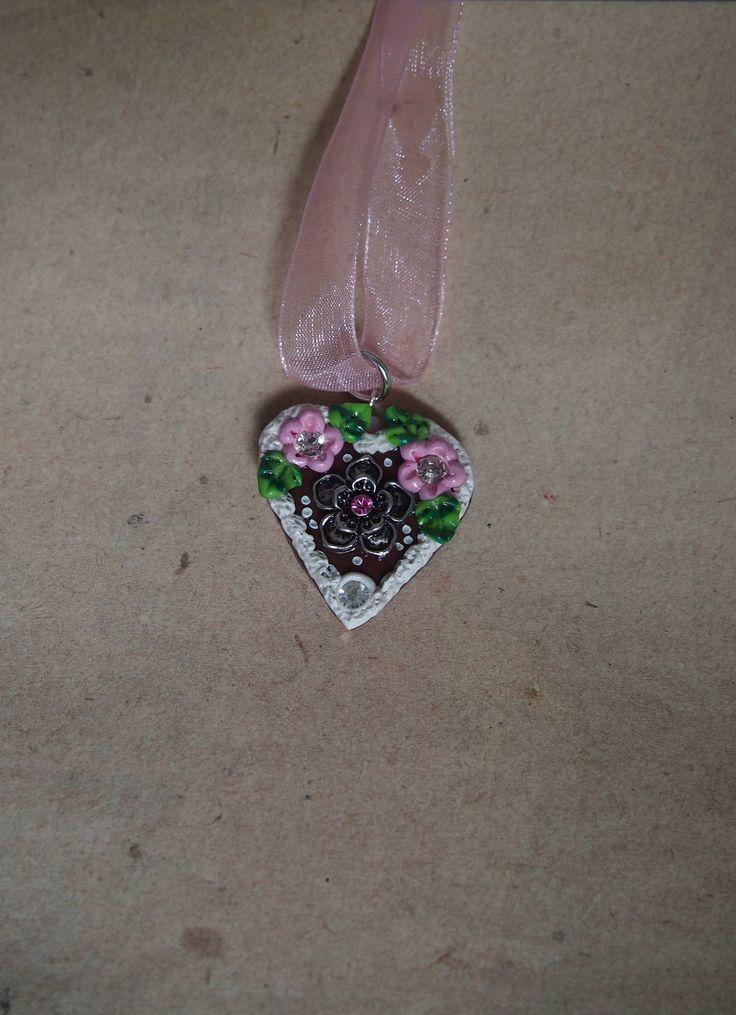 Oktoberfest Herzkette rosa mit Blume von PfullingerEngele auf Etsy