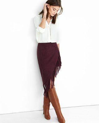 burgundy fringed asymmetrical pencil skirt from EXPRESS