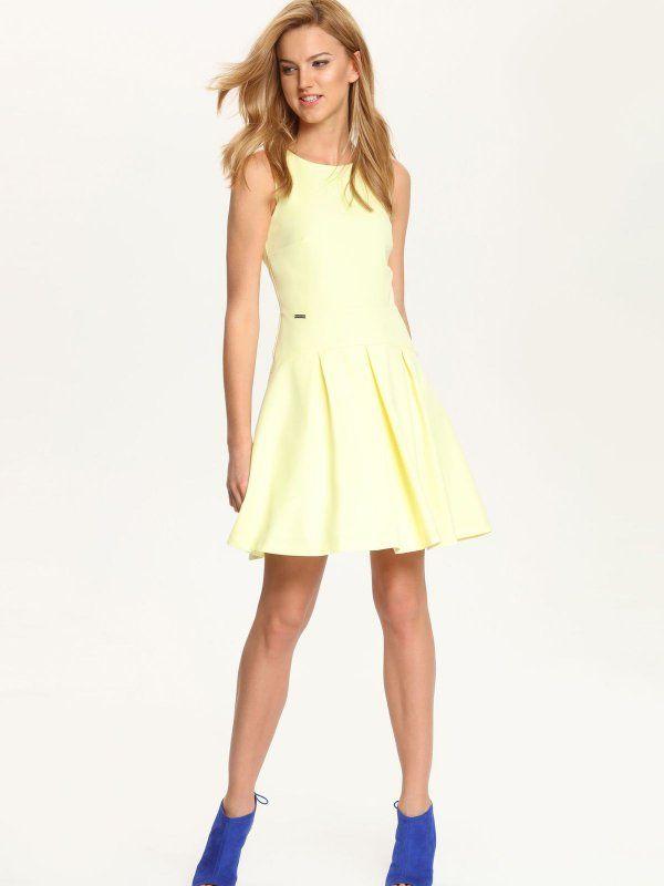 Sukienka damska Top Secret z kolekcji wiosna-lato 2016.żółta sukienka rozszerzana. Yellow dress.