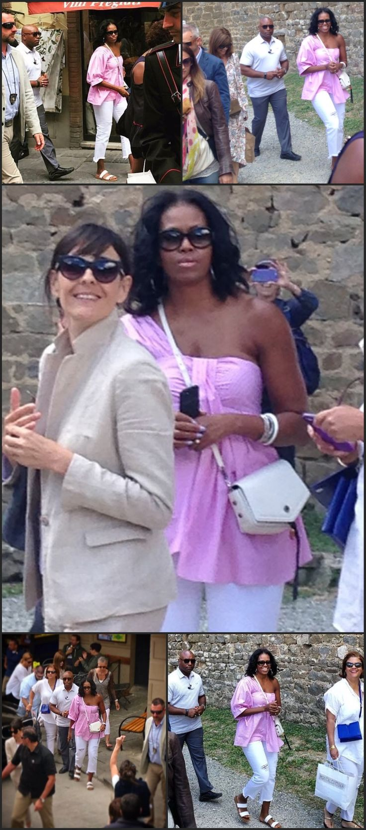 Former 44th President BarackObama and former FirstLady Michelle Obama arrived in Tuscany, Italy on a private plane flew into a Tuscany militray base on Friday May 19, 2017 escorted by six fighter jets and a 13 car motorcade for five days in a $15k-a-night private villa First Lady Michelle Obama in Montalcino, Italy May 20, 2017