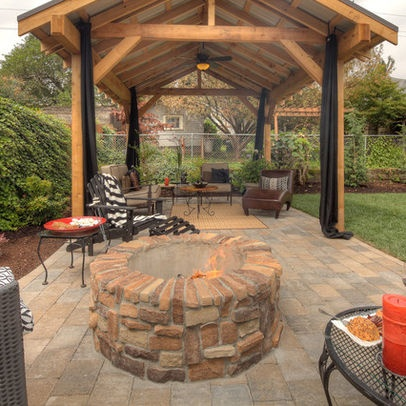 Gazebo paver patio outdoor living area paradise for Fire pit ideas outdoor living