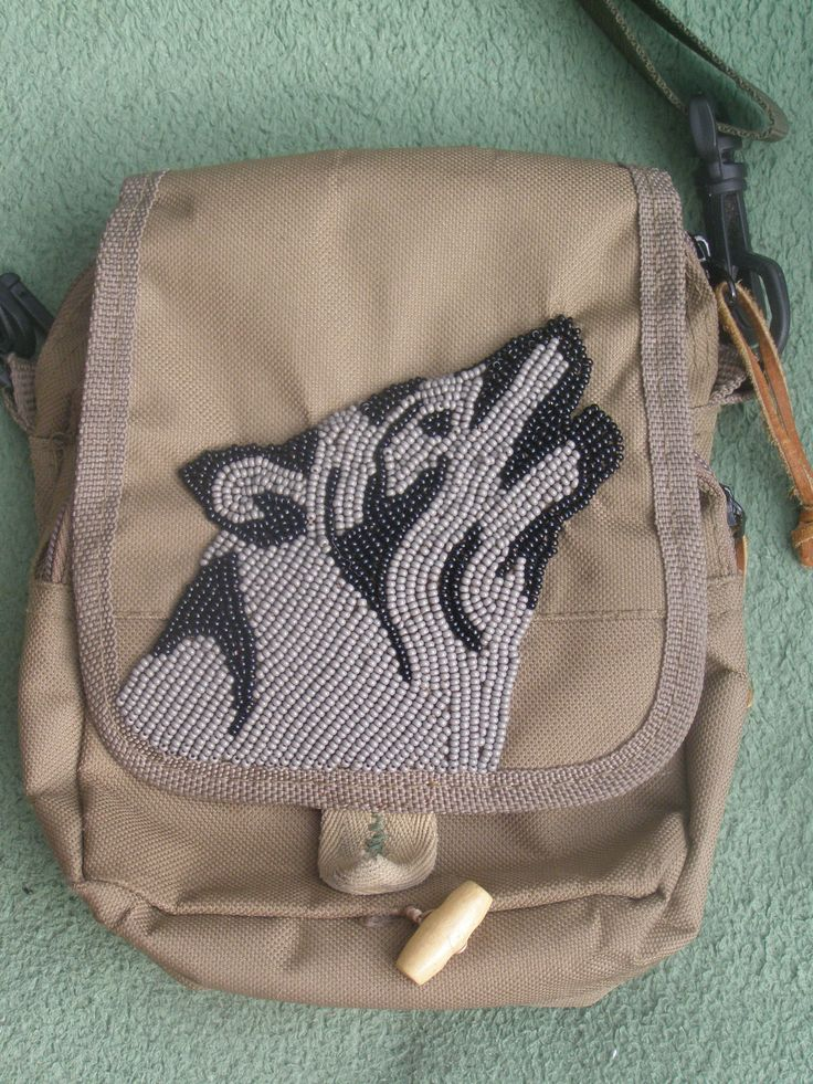 beaded wolf on the bag
