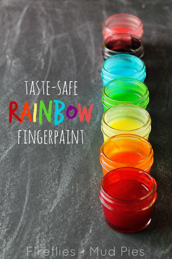 Taste-Safe Rainbow Fingerpaints | Fireflies and Mud Pies