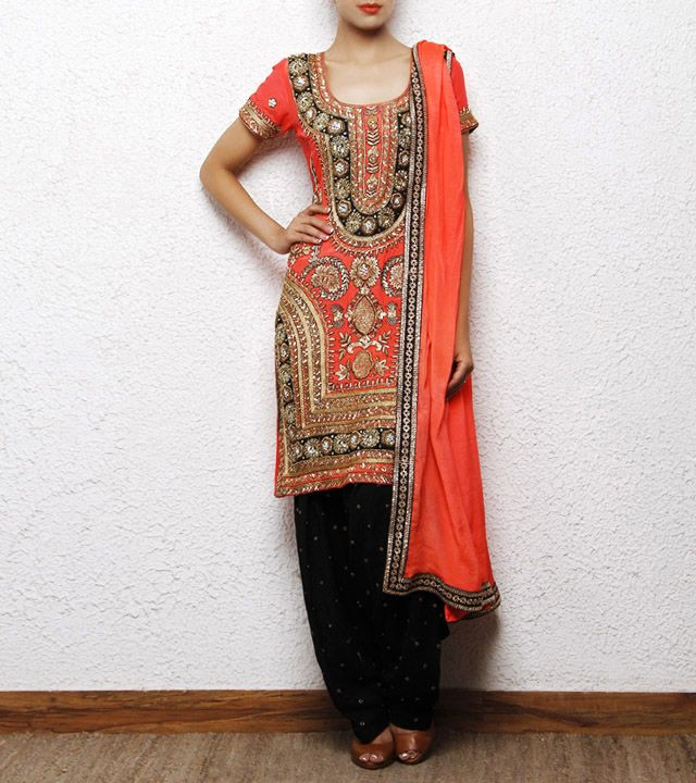Black Crepe Salwar Kameez with Zardozi