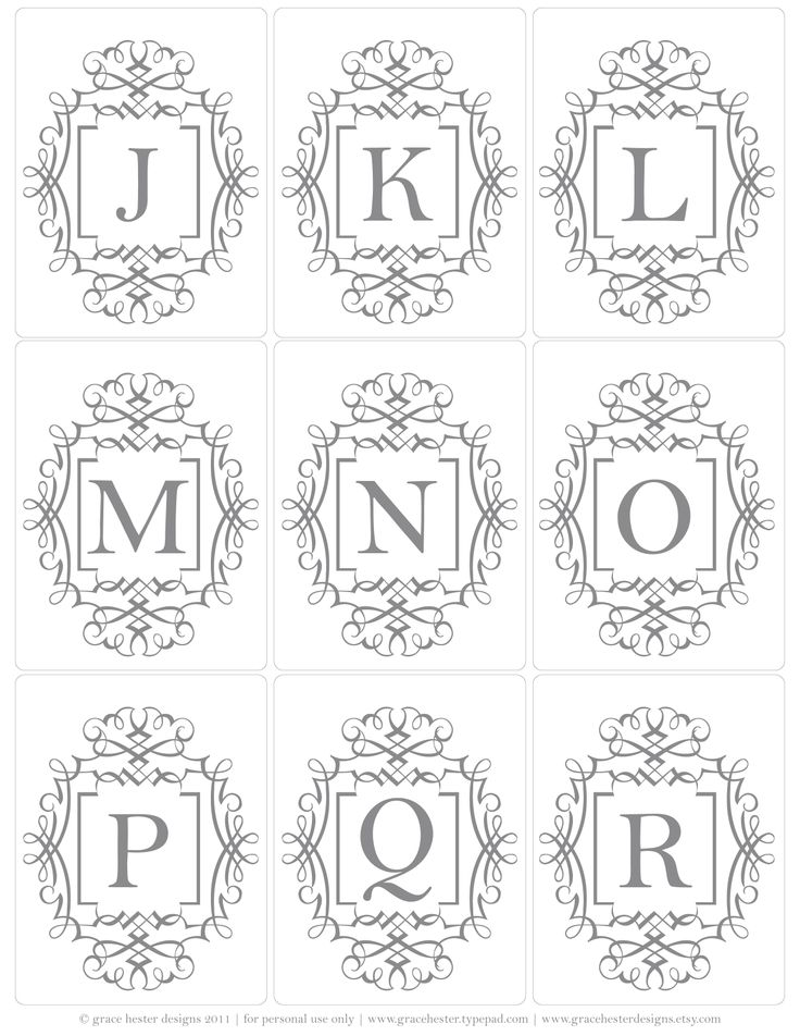 Initial tags - the whole alphabet is here #free #monogram #alphabet #printable