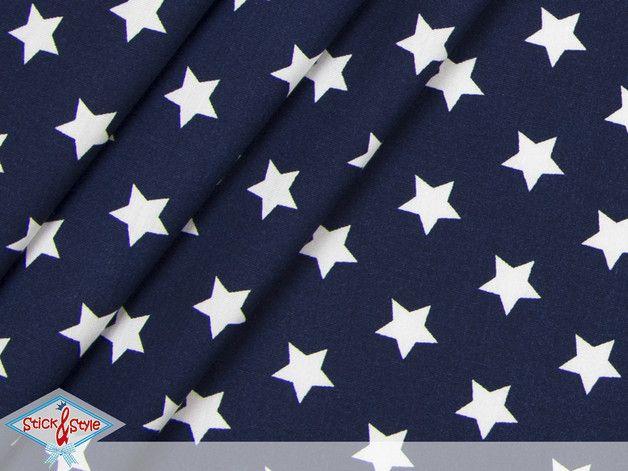 Stoff Sterne - Stoff mit großen Sternen dunkelblau - ein Designerstück von StickandStyle bei DaWanda