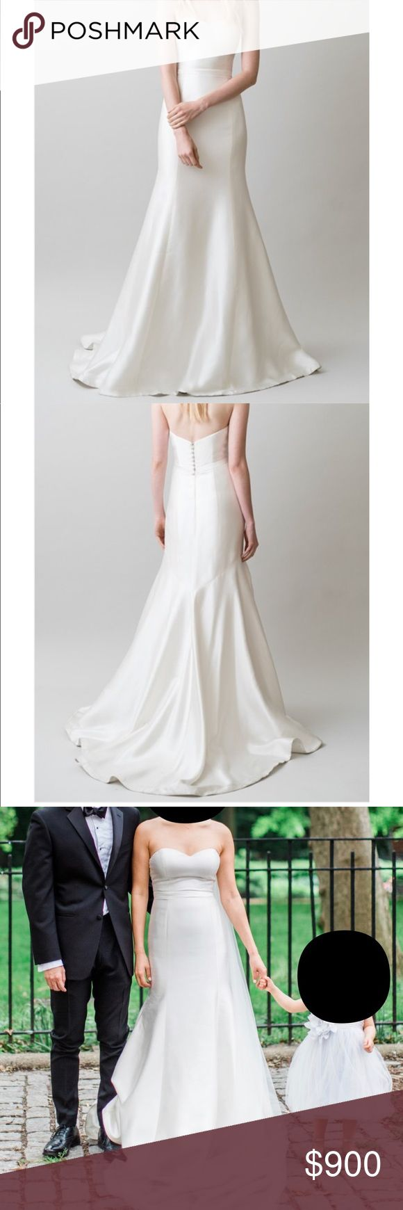 """Jenny Yoo London Bridal Gown Silk Mikado strapless wedding gown. Fully lined and cups have been added. Very simple and can be adorned with a sash, belt, crown.  The dress is originally a size 6. My measurements are 35"""" bust, 27"""" waist, 36"""" hips and height 5'7"""" (wore 3.5"""" heels)  The gown has been professionally cleaned and preserved. Jenny Yoo Dresses Wedding"""