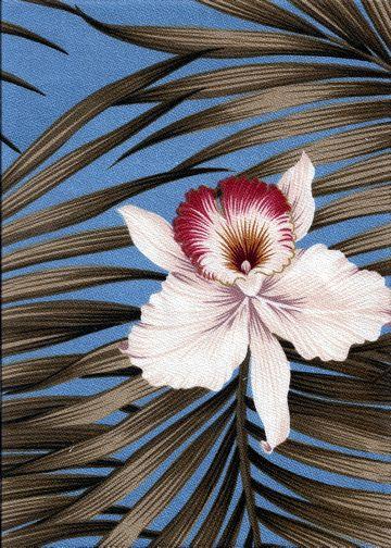 Fern Aqua Tropical Hawaiian orchid & plumeria flowers, cotton apparel fabric.