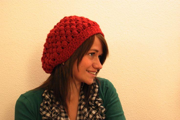 crochet puff stitch hat with Dutch pattern