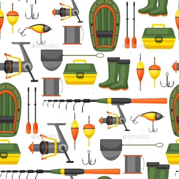 Seamless Pattern with Fishing Supplies