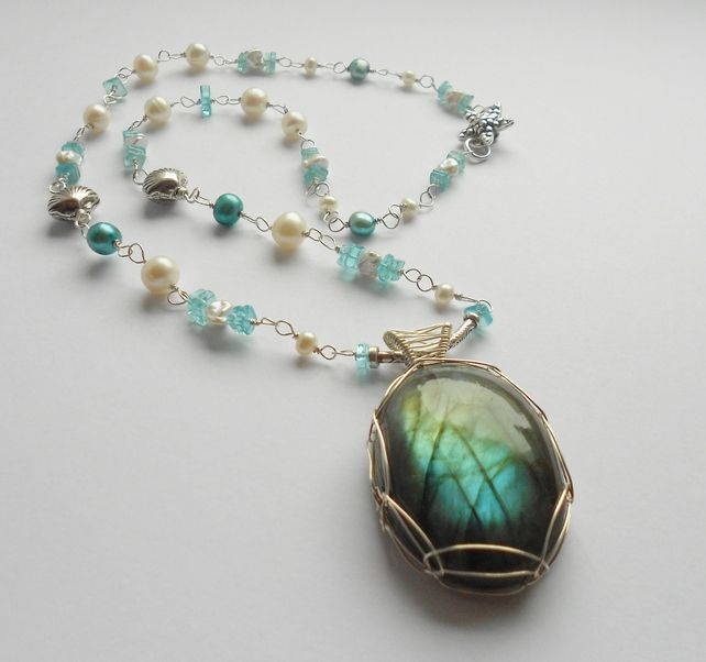 Stunning Gemstone Sterling Silver Wire Wrapped Necklace