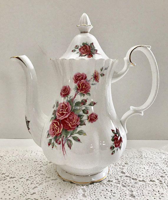 Large Royal Albert Centennial Rose Coffee Pot Creamer Sugar Vintage Coffee Pot Coffee Pot Ways To Make Coffee