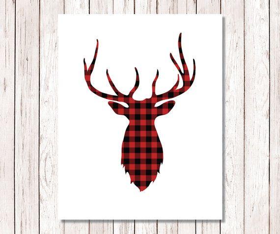 Cervi di bufala Print stampa artistica di Natale, Natale Decor stampabile, vacanza arte stampa, cervo rosso e nero Plaid di bufala