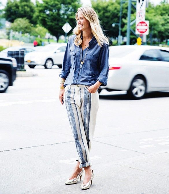 casual button up, striped pants and metallic heels