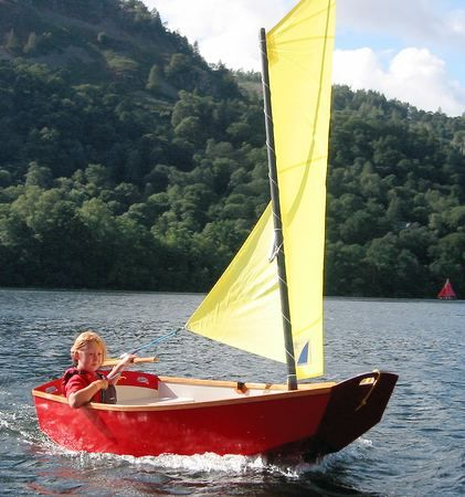 Learing to sail in a home made Elterwater pram