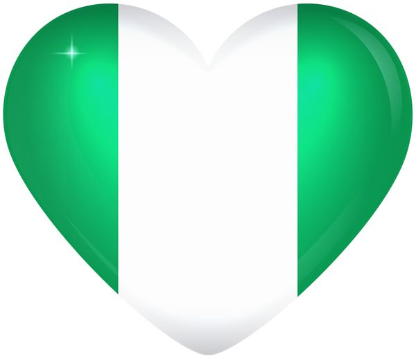 Nigeria Large Heart Flag