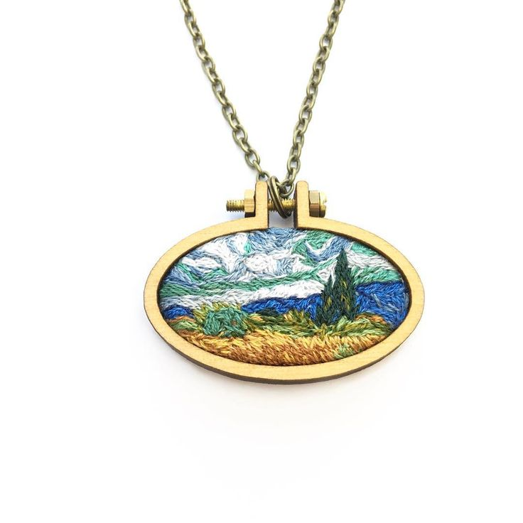 "Jessica Blazek on Instagram: ""Van Gogh Wheat Field Pendant. Available now in shop! Link in bio. . If you are looking for the fun hoops, they can be found here…"""