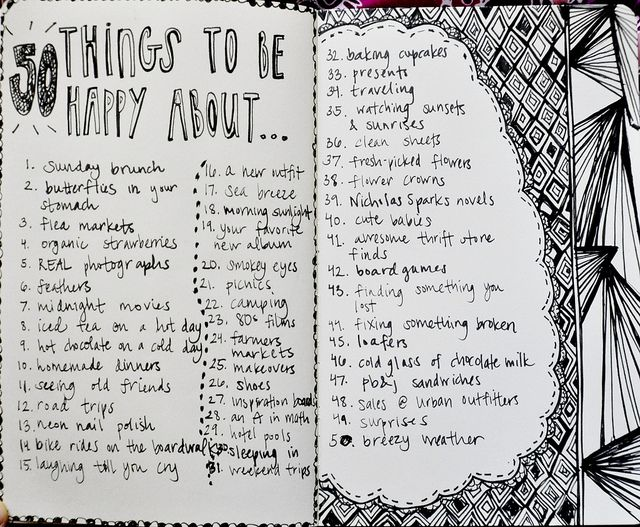 50 things to be happy about -great idea for a journal!