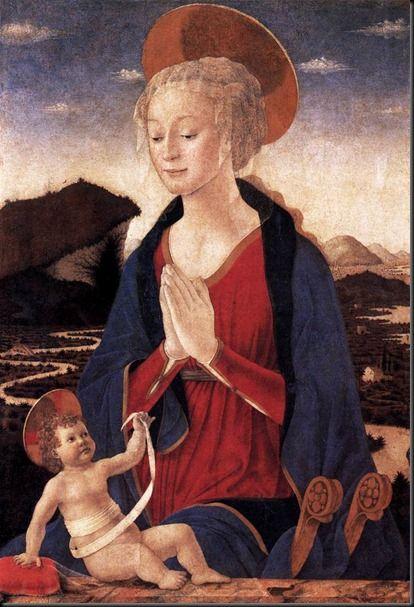 Alessio Baldovinetti (b.: 1472), (previously att. to Piero della Francesca) Madonna with Child