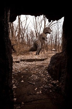 Abandoned Years Ago;  A Dinosaur Park.  I was there in the 70s, it was abandoned then.  NO Rides, Just Walking Thru Acres of Trails, with Life Size Dinosaurs.  I wonder if it still stands, in the Irish Hills, Michigan.