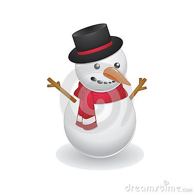 Cool snowman wearing black hat and red scarf