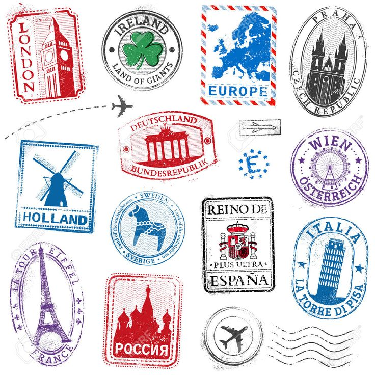 A High Detail Collection Of Travel Stamps Concepts, With Traditional.. Royalty Free Cliparts, Vectors, And Stock Illustration. Image 42663667.