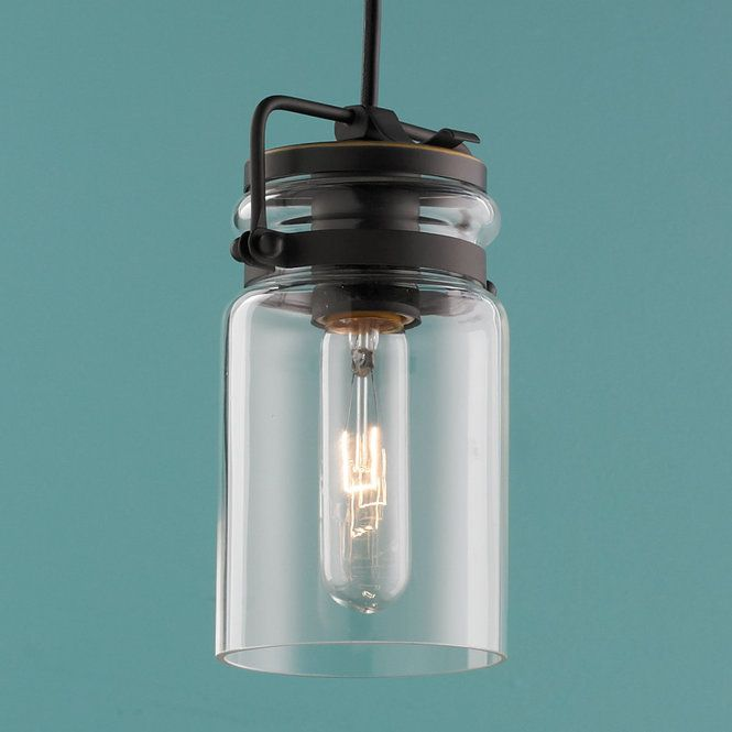 "Vintage mason jar style glass with a layered bracket lid in Brushed Nickel or Bronze warms your counters and kitchen sinks with nostalgic appeal. 100 watts medium base socket. (7.75""Hx4.75""W) Canopy: 5"" round9.5' cord."