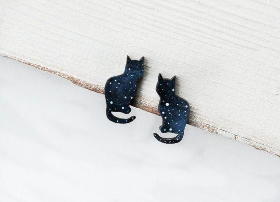 Cat stud earrings Cosmic earrings Small studs cats от MagicTwirl