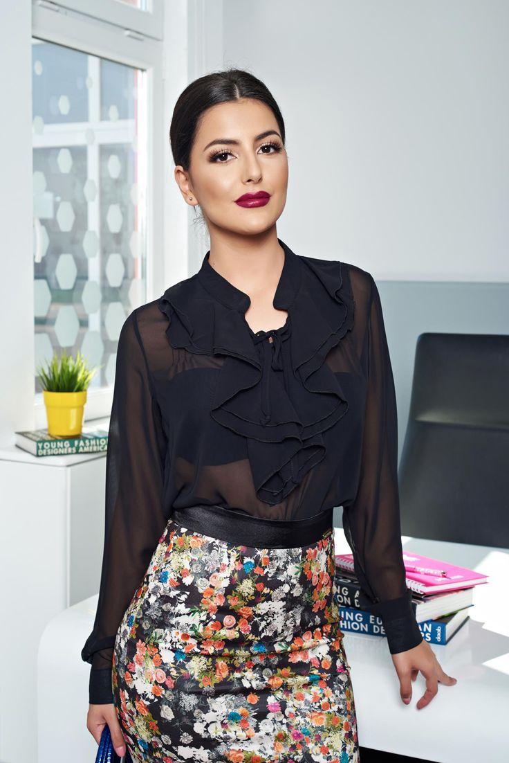PrettyGirl Eminence Black Blouse, women`s blouse, with ruffle details, long…