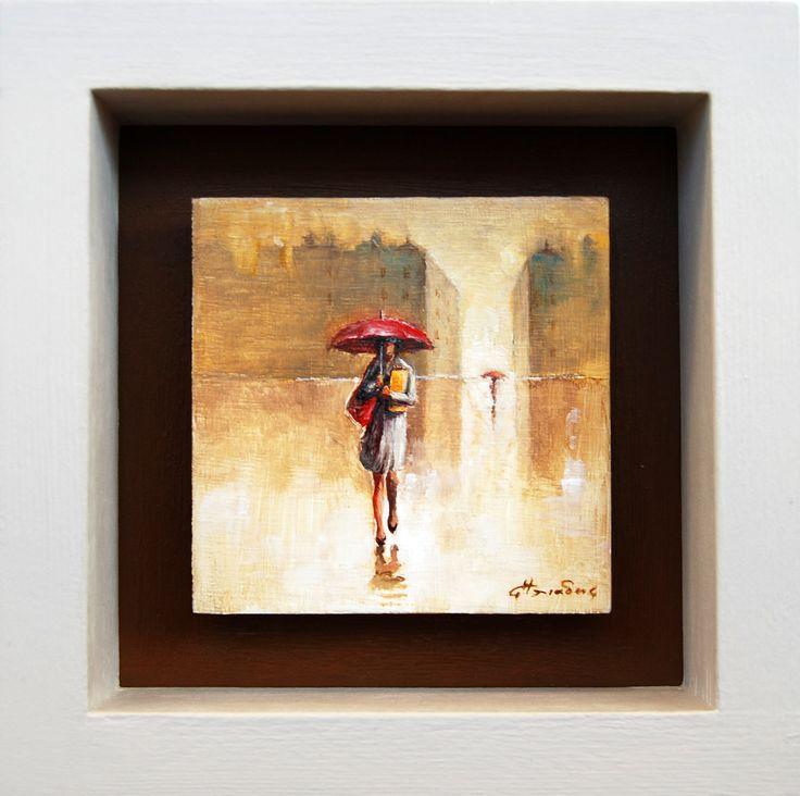 """""""Γυναίκα με κόκκινη ομπρέλα"""" 9Χ9 εκατ. λάδι σε ξύλο (2015)"""