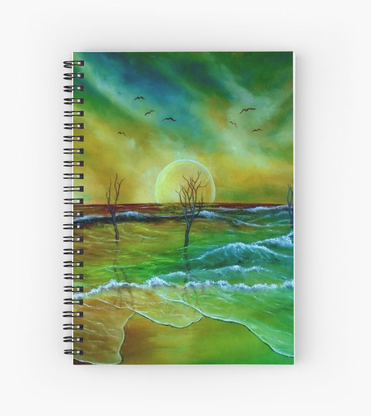 Spiral Notebook,  coastal,sea,waves,sunset,sky,nature,green,blue,colorful,fantasy,impressive,stationery,school,supplies,cool,unique,fancy,trendy,awesome,beautiful,design,unusual,modern,artistic,for sale,items,products,office,organisation,redbubble