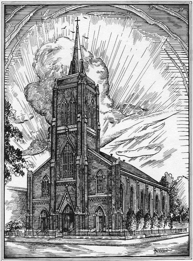 Sketch of St. John UCC in Louisville, KY by Richard Paulmann in 1972.