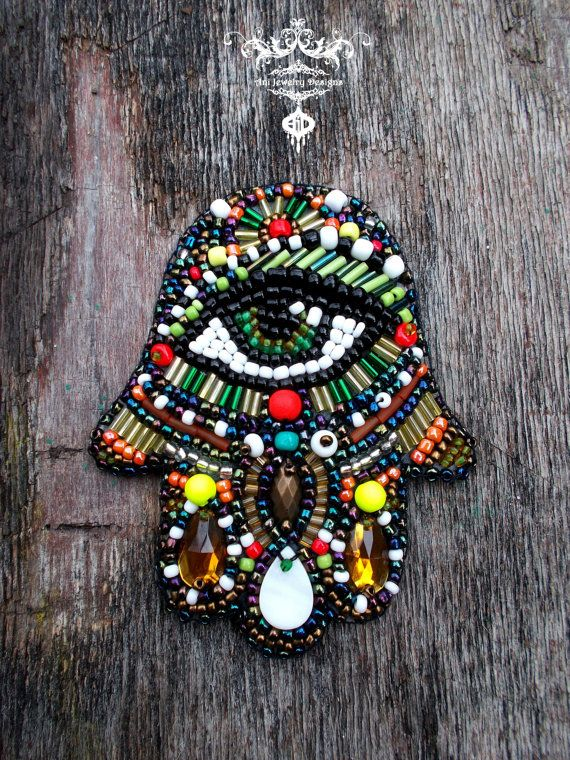 Hamsa hand of fatima bead embroidery by AniDandelion on Etsy