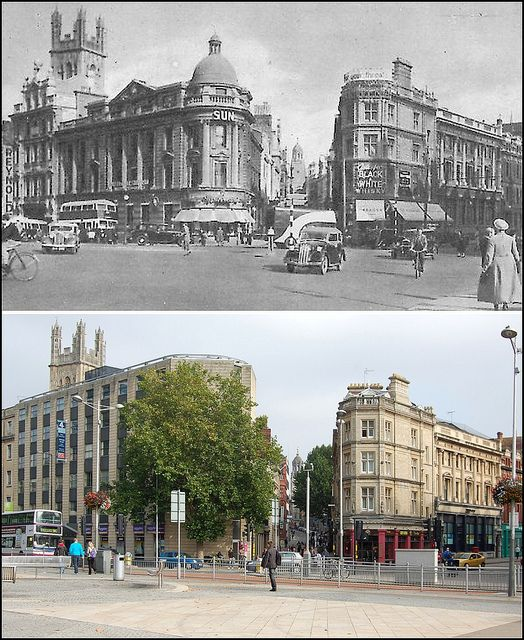 Bristol, England - Then and now. The camera looks straight up Clare Street to Corn Street, with the tower of All Saints Church in the distance.