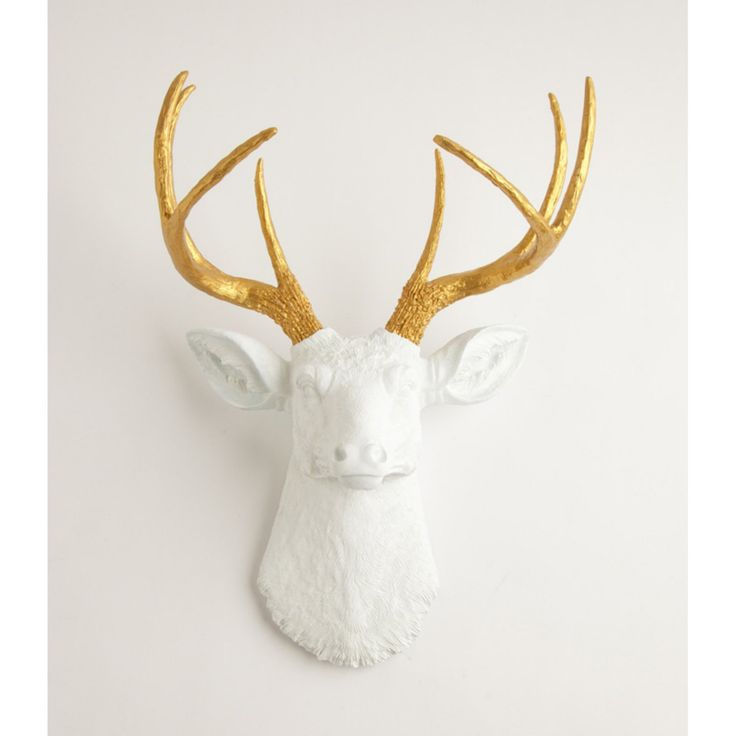 White Faux Taxidermy Faux Deer Head Wall Mount - 158