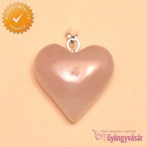 Sziv alakú, 20 mm-es rózsakvarc medál - ásványgyöngy • Gyöngyvásár.hu