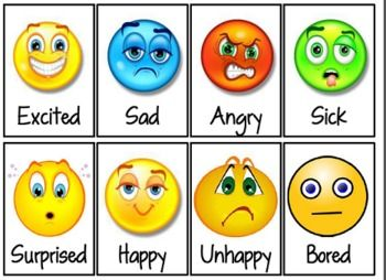 "I used these cards in a pocket chart and give each child a mini popsicle stick with their name on it. They take turns going up and putting their stick in front of the smiley face that corresponds to how they feel, using a complete sentence as they do so: ""I feel happy because or ""I feel sad because my favorite toy broke."" etc."