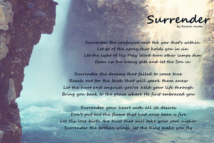 Surrender, original poem by Rachel Jacobs. Photo by Rachel Jacobs. Upper Falls at Johnston's Canyon, Banff Canada