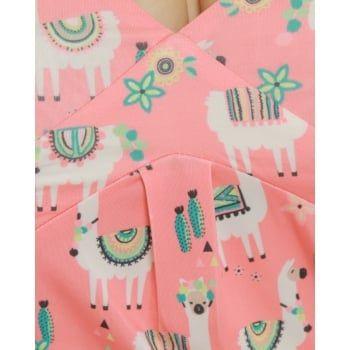Esme' Coral Llama Print Jersey Top