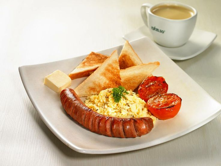 Sausages, Scramble Eggs, Tomato and Toast (white or whole wheat bread). This is Breakfast Sausage from EXCELSO