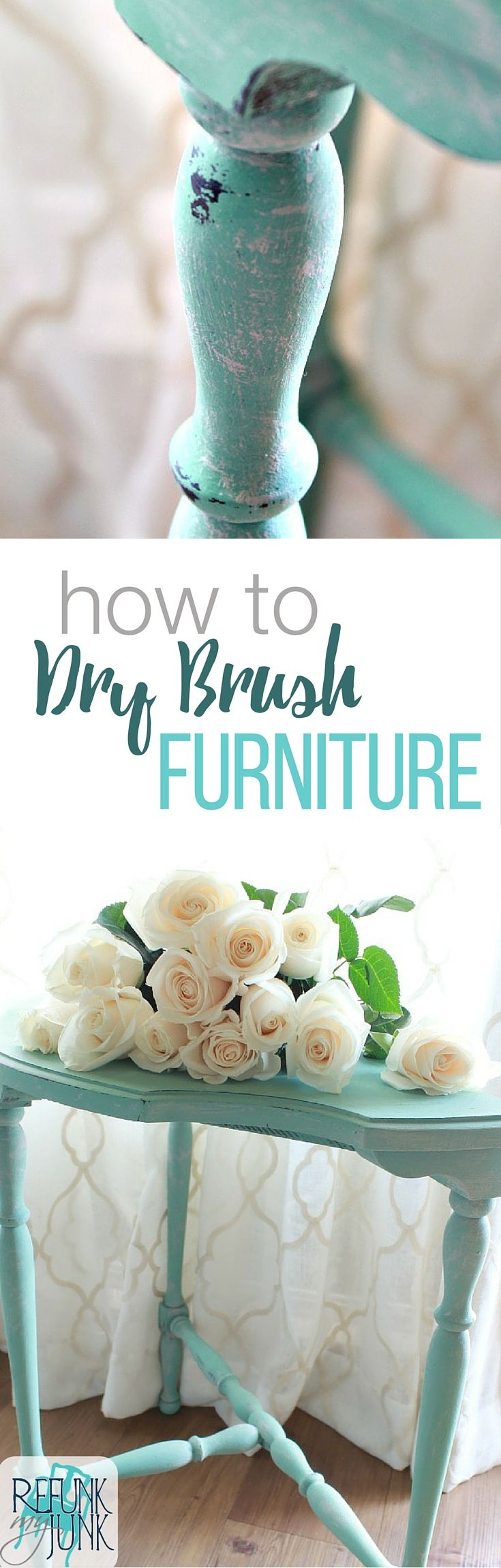 how to dry brush furniture painting technique. Furniture painting tips and tutorial by Refunk My Junk. Using Heirloom Tradition's Privilege and Row House.