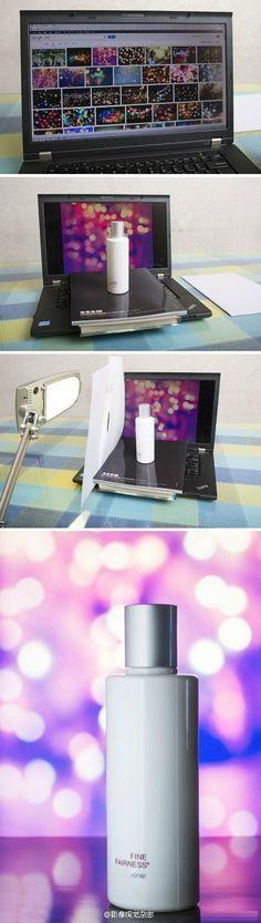 Interessante Idee für das Photografieren von kleinen Dingen. Ausprobieren. Tageslichtlampe steht zufällig neben dem Rechner.