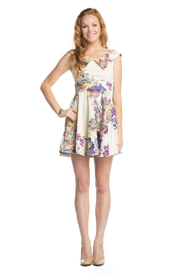 Floral Dress with Back Bow