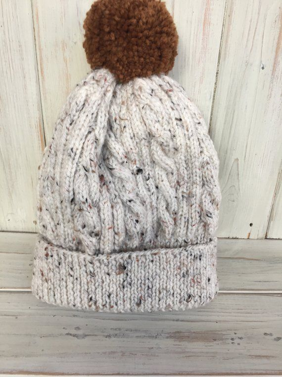 Knitted hat Hand knitted Hnad knit Beanie Hand made Ladies hat Cable hat Aran hat,
