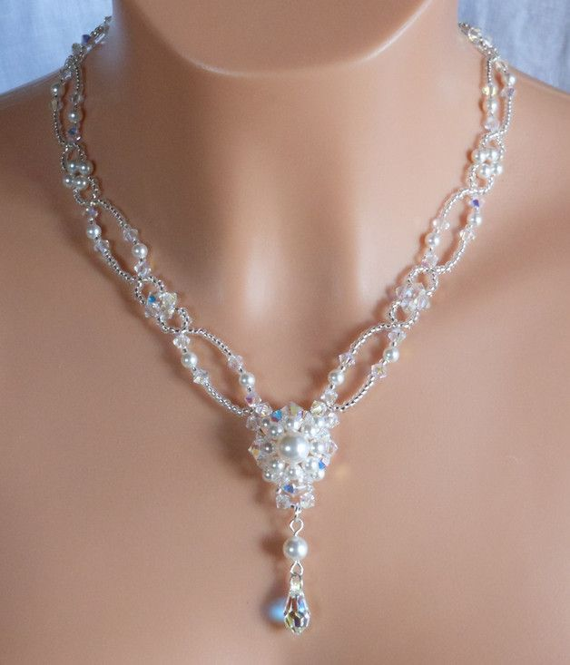 Bijoux, cristal Swarovski collier de mariée, collier de pe est une création orginale de akcrystalbead sur DaWanda