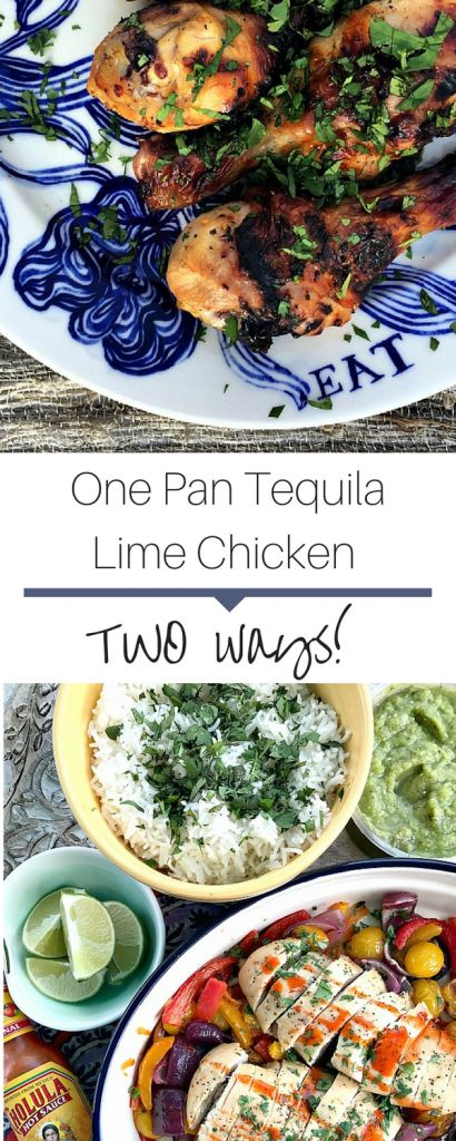 Juicy one pan tequila lime chicken recipe! Use with fajitas or for a burrito bowl! Perfect for a weeknight meal!
