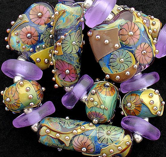 dsg beads artisan debbie sanders handmade organic lampwork glass lavender frostbarrel and round set