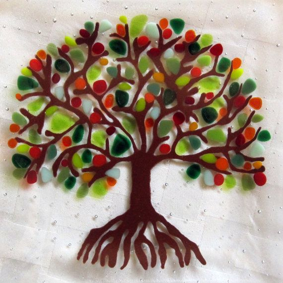 Fused Glass Plate, Tree of Life, Tree with Blooming Branches via Etsy